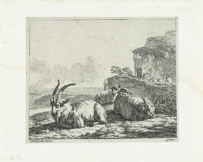 Landschap met bok en twee schapen