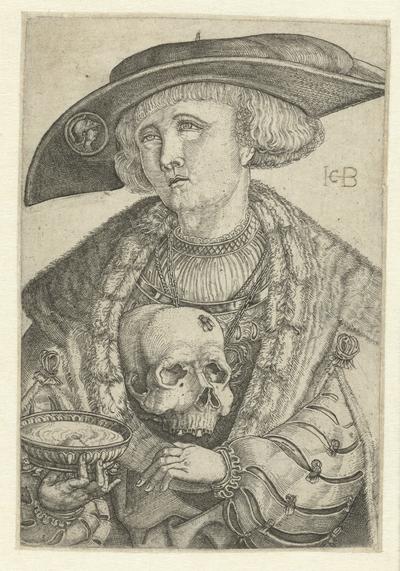 Zelfportret met schedel en schaal