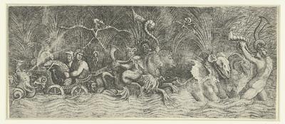 Zeegoden op triomfwagen getrokken door fabeldieren; Watergoden