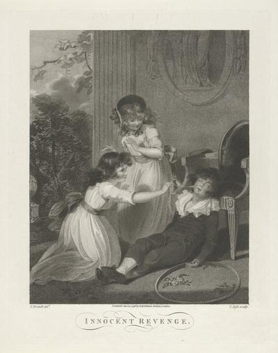 Interieur met plagende kinderen; Innocent Revenge.