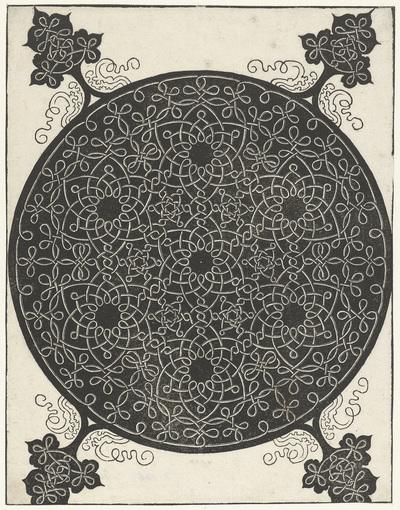 Borduurvoorbeeld met zeven bloemvormige motieven