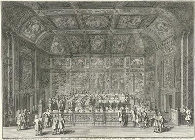 Vergaderkamer van de Staten van Holland en West-Friesland, ca. 1730; Vergader-kamer van de Heeren Staten van Holland en Westvriesland