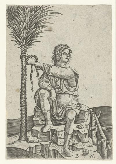 Man zit bij palmboom