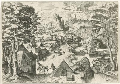 Abraham met de engelen in een landschap; Abraham invitat angelos; Landschappen met christelijke verhalen