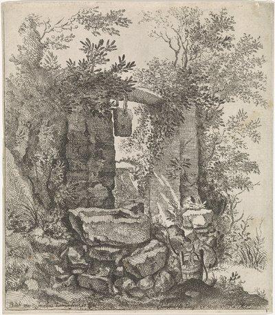 Vervallen stenen poort in een landschap; Landschappen