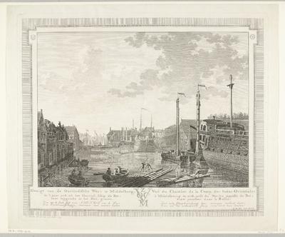 Gezicht op de Oost-Indische Werf te Middelburg, 1778; Gezigt van de Oostindische Werv te Middelburg, in 't jaar 1778. uit het Oostind. schip de Bot, toen leggende in het Dok, gezien / Vuë du Chantier de la Comp. des...