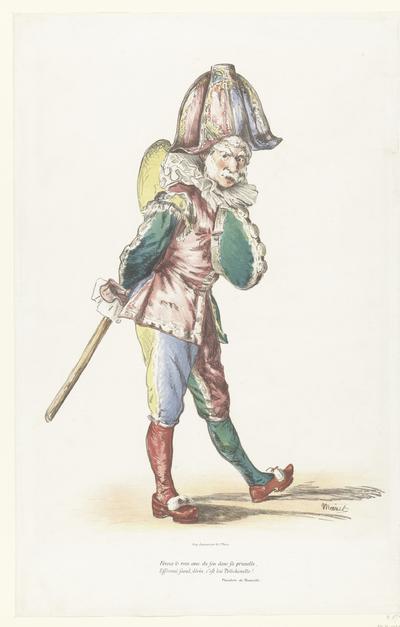Toneelspeler als komische figuur Polichinelle; Polichinelle