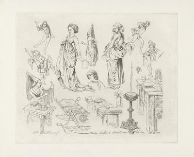 Studieblad met dansende en musicerende figuren