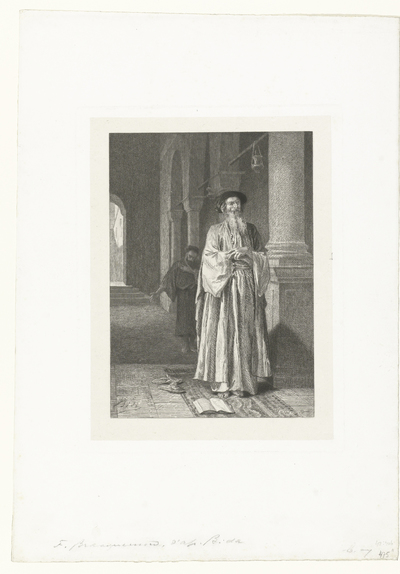 Farizeeër en tollenaar bidden in tempel; Le Pharisien et le Publicain