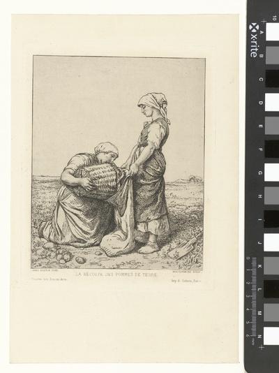 Twee vrouwen oogsten aardappelen op akker; La Récolte des Pommes de Terre