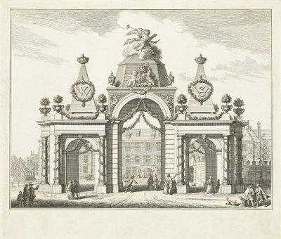 Erepoort op het Buitenhof voor de intrede van Willem V en Wilhelmina van Pruisen, 1767