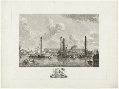 Tewaterlating van drie schepen te Amsterdam, 1783
