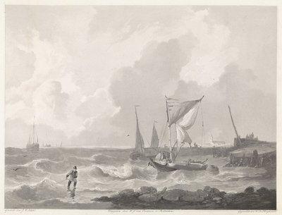 Vissersboten bij een havenhoofd