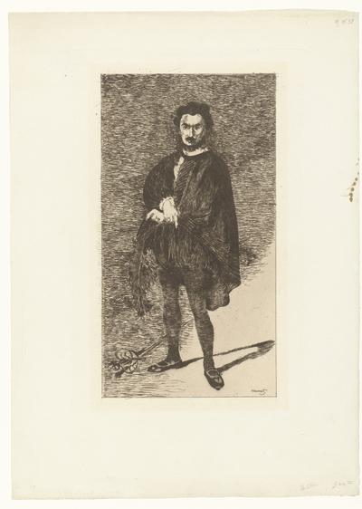 Portret van acteur Philibert Rouvière in de rol van Hamlet; Rouvière dans le rôle d'Hamlet; L'acteur tragique