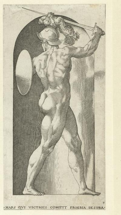 Mars met helm, schild en zwaard; Goden en Godinnen