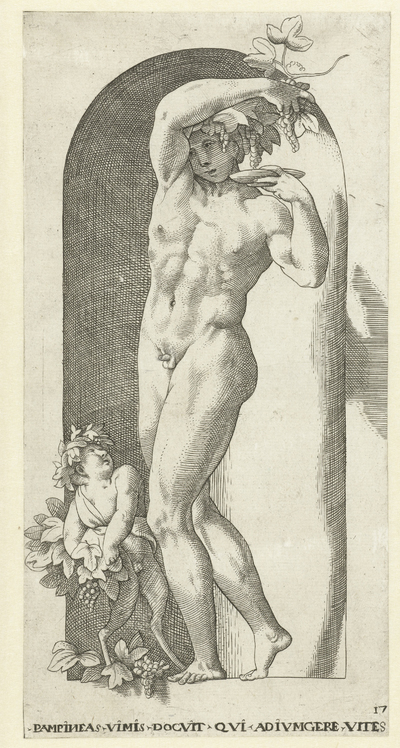 Bacchus met drinkschaal en wijnranken; Goden en Godinnen