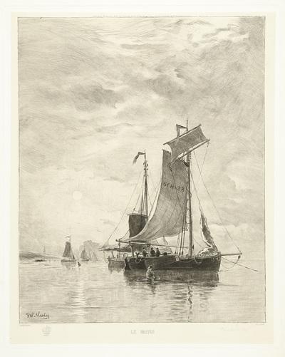 Vissersschepen liggen voor anker bij opkomende zon; Le Matin