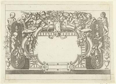 Rechthoekige cartouche waar een ovale lijst met halfronde uitstulpingen overheen ligt; Plafonds en cartouches in een omlijsting van rolwerk met grotesken, guirlandes en mascarons; Kleine cartouche naar voorbeeld te...