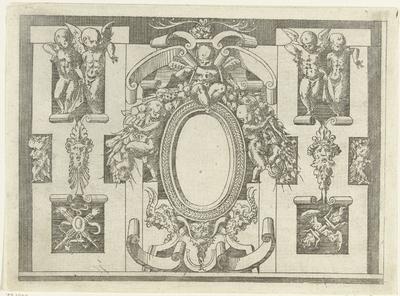 Ovale cartouche; Plafonds en cartouches in een omlijsting van rolwerk met grotesken, guirlandes en mascarons; Kleine cartouche naar voorbeeld te Fontainebleau