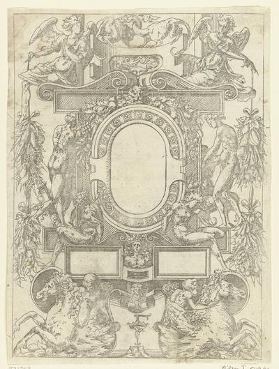 Ovale cartouche met midden boven twee fantasiebeesten met verstrengelde nekken; Plafonds en cartouches in een omlijsting van rolwerk met grotesken, guirlandes en mascarons; Kleine cartouche naar voorbeeld te Fontainebleau