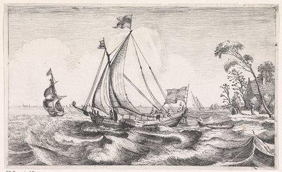 Beurtschip met volle zeilen varend naar links; Zeegezichten