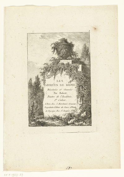 Titelblad met een antieke vaas op een sokkel; Les soirées de Rome; Romeinse gezichten