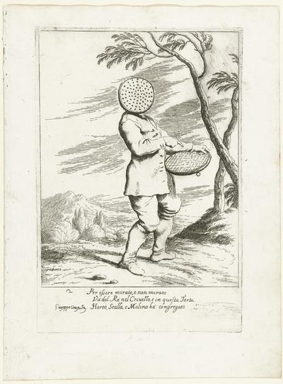 Bertoldo met zijn gezicht verborgen achter een zeef; Historie van Bertoldo, Bertoldino en Cacasenno
