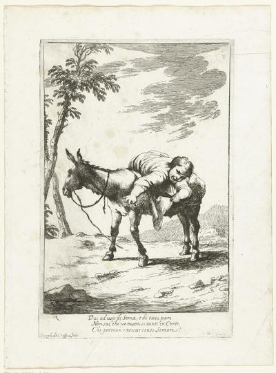Bertoldino op een ezel; Historie van Bertoldo, Bertoldino en Cacasenno
