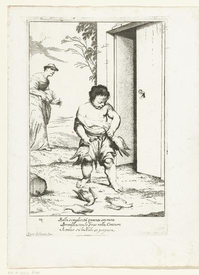 Bertoldino bindt twee ganzen aan zijn riem; Historie van Bertoldo, Bertoldino en Cacasenno