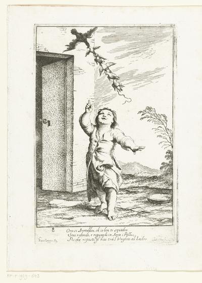 Bertoldino wijst naar de kippen en de Kiekedief; Historie van Bertoldo, Bertoldino en Cacasenno