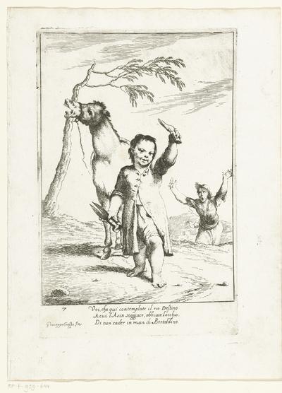 Bertoldino snijdt de oren van een ezel af; Historie van Bertoldo, Bertoldino en Cacasenno