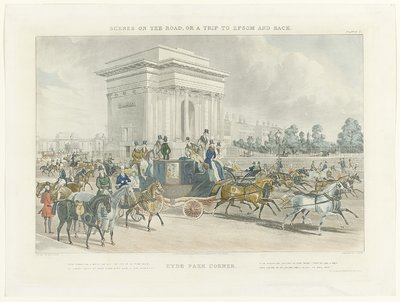 Scenes on the road, or a trip to Epsom and back, Hyde Park Corner naar J. Pollard