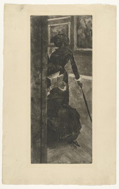 Mary Cassatt kijkt naar schilderijen in het Louvre; Au Louvre, la peinture
