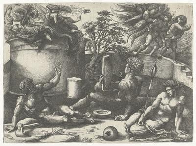 Offer van Kaïn en Abel en verdrijving uit paradijs van Adam en Eva