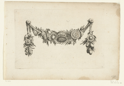 Image from object titled Festoen van bloemen met een zonnebloem in het midden; Verscheide Nieuwe Festonnen