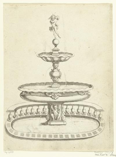 Fontein met twee waterbassins; Fontaines Et Iets D'Eau (...)