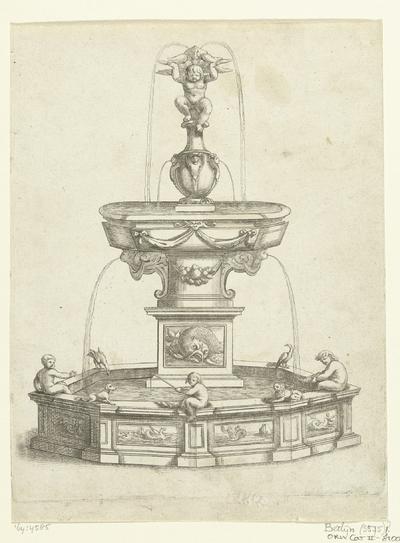 Fontein met waterbassin op hoog voetstuk; Fontaines Et Iets D'Eau (...)