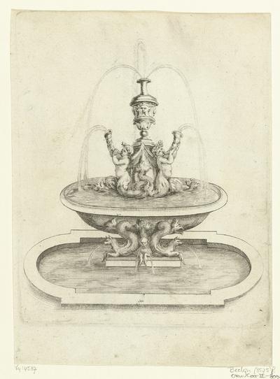 Fontein met waterbassin ondersteund door drie zeemonsters; Fontaines Et Iets D'Eau (...)