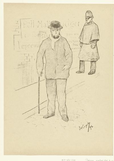 Portret van dichter Paul Verlaine in Londen; Paul Verlaine à Londres; L'Epreuve