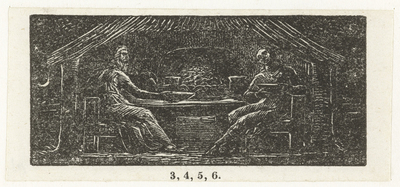 Thenot en Colinet samen aan tafel; Thenot and Colinet eat their evening meal; Illustrations of imitation of Eclogue I
