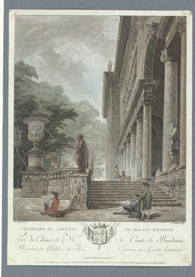 Gezicht op de Villa Medici; Colonade et jardins du Palais Medicis