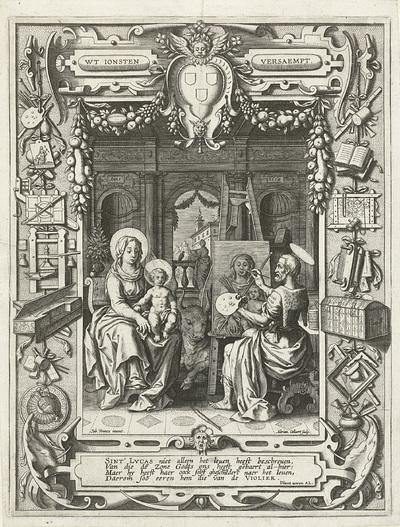 Blazoen van het Sint-Lucasgilde met de Heilige Lucas die Maria schildert