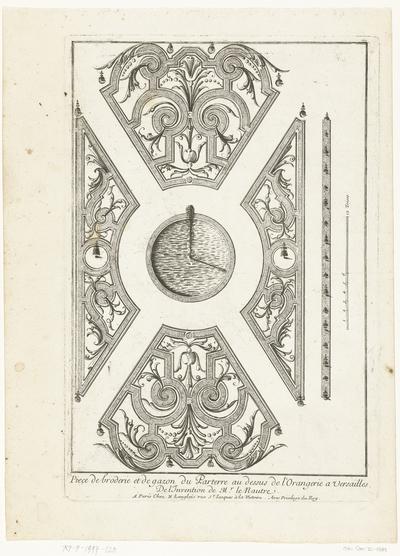 Parterre boven Oranjerie van Versailles; Piece de broderie et de gazon du Parterre au dessus de l'Orangerie a Versailles; Tuinen met parterres