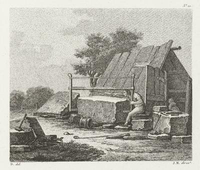 Man bezig blok steen door te zagen; Troisième Cahier D'Etudes