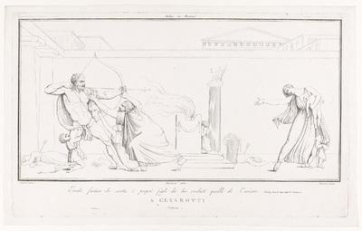 De woedende Hercules schiet een pijl af op Iole