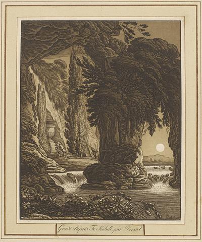 Rotsachtig landschap met een waterval, links twee rouwende figuren voor een grafmonument; Landschappen