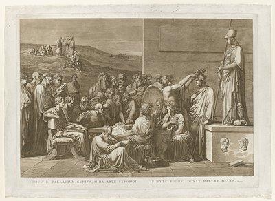 Allegorische verheerlijking van de boekdrukker Giovanni Battista Bodoni; Hoc tibi palladium genius, mira arte typorum / inclyte Bodoni, donat habere decus