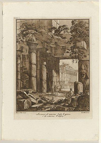 Door vegetatie overwoekerde Egyptische architectuur; Raccolta di dissegni originali di Mauro Tesi