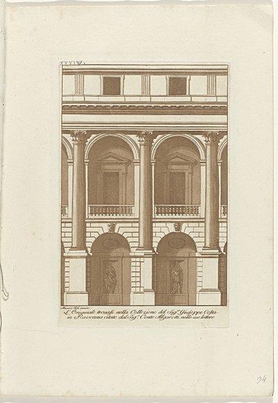 Frontaal aanzicht op twee traveeën met beeldhouwwerken in nissen op de grond; Raccolta di dissegni originali di Mauro Tesi