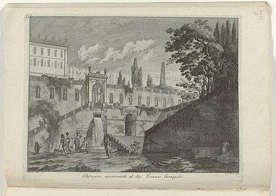 Vrouwen bij een fontein voor een paleis; Raccolta di dissegni originali di Mauro Tesi